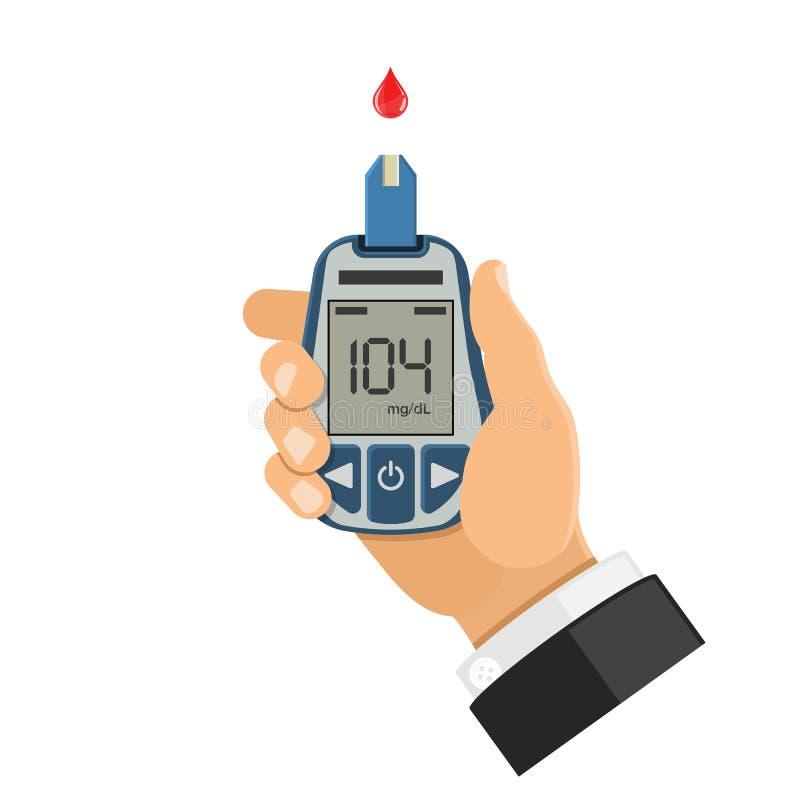 De meter van de bloedglucose ter beschikking vector illustratie