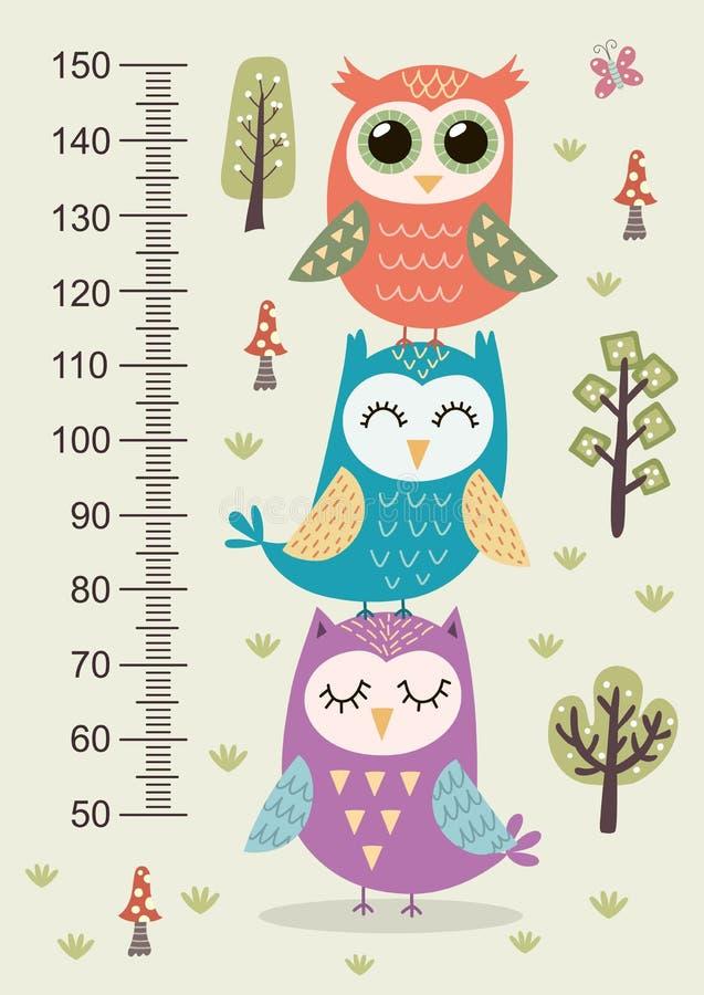 De meter van de jonge geitjeshoogte met leuke uilen stock illustratie