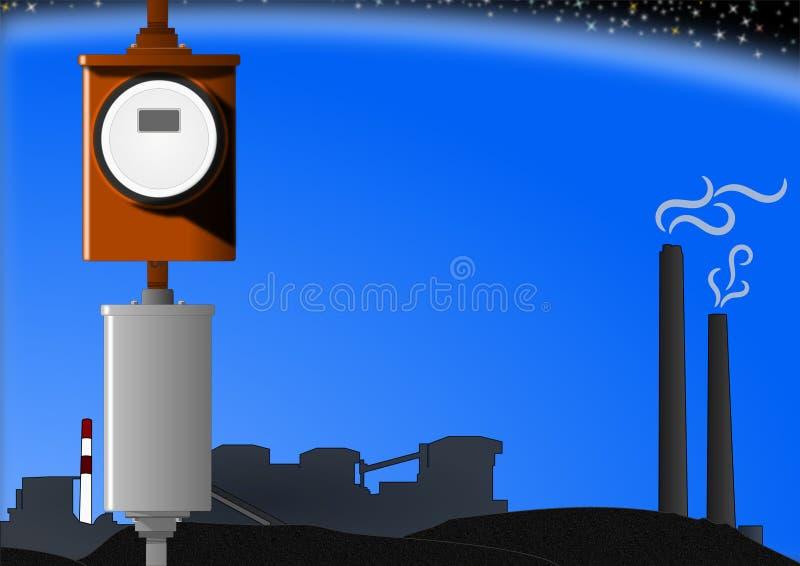 De Meter van de macht en de Installatie van de Steenkool vector illustratie