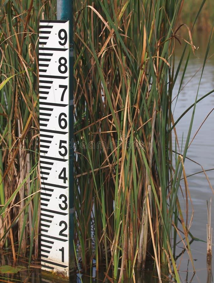 De meter van de waterspiegel na lage regenval royalty-vrije stock foto's