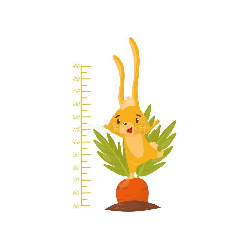 De meter van de jonge geitjeshoogte met leuk geel konijntje op wortel Klein dier met lange oren Het meten van muursticker voor ki vector illustratie