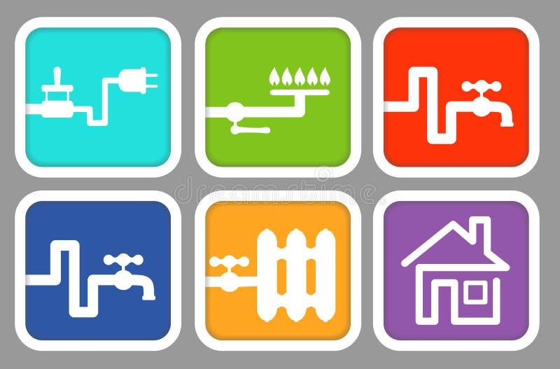 De meters van het pictogrammennut: elektriciteit, gas, koud water, warm water, het verwarmen royalty-vrije illustratie