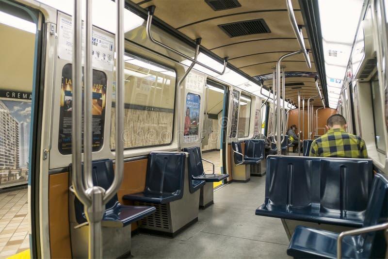 De metro van Montreal binnen een trein stock afbeelding