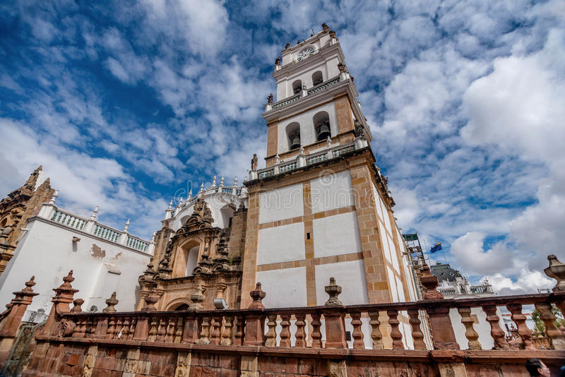 De Metropolitaanse Kathedraal bij Sucre, Bolivië stock afbeeldingen