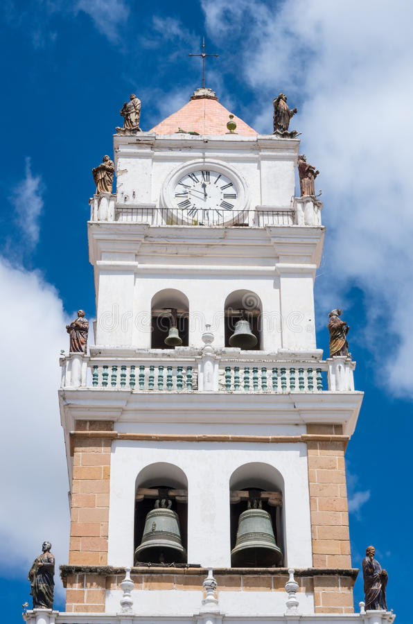 De Metropolitaanse Kathedraal in Sucre, Bolivië stock afbeeldingen