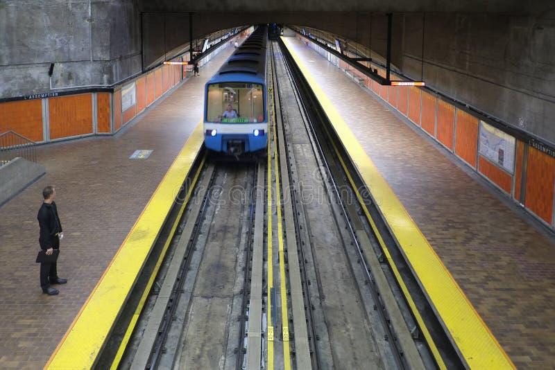 De metropost van Montreal L'Assomption (metro) stock foto's