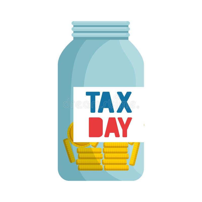 De metselaarkruik van de belastingsdag met muntstukken stock illustratie
