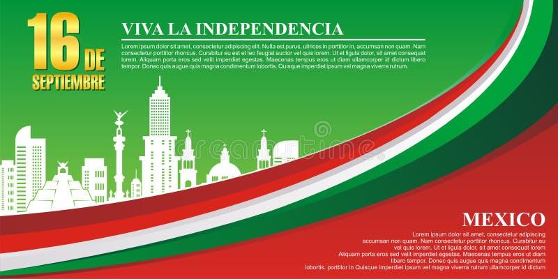 De Mexicaanse achtergrond van de Onafhankelijkheidsdag met modieus golfontwerp stock illustratie
