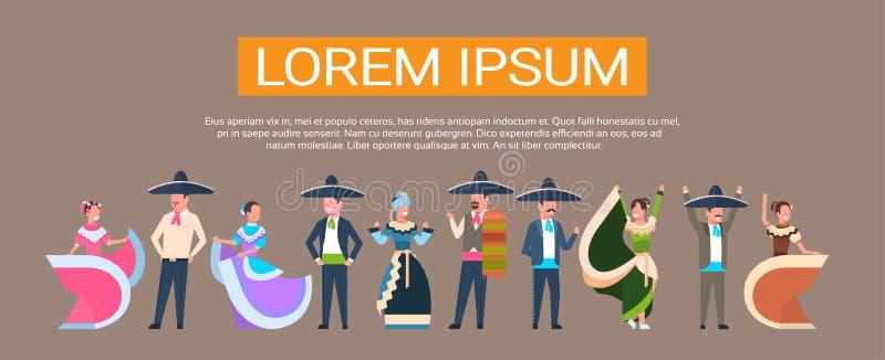 De Mexicaanse Dansers groeperen zich in de Traditionele Kleren die van Mexico voor Cinco De Mayo Festival Banner With-Exemplaarru royalty-vrije illustratie