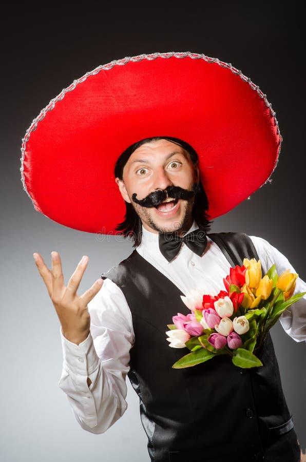 De Mexicaanse mens draagt sombrero op het wit royalty-vrije stock fotografie