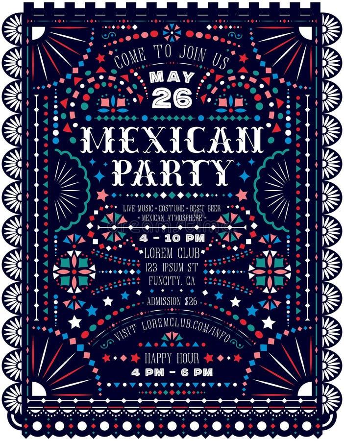 De Mexicaanse partij kondigt afficheontwerp met document besnoeiingselementen aan royalty-vrije illustratie