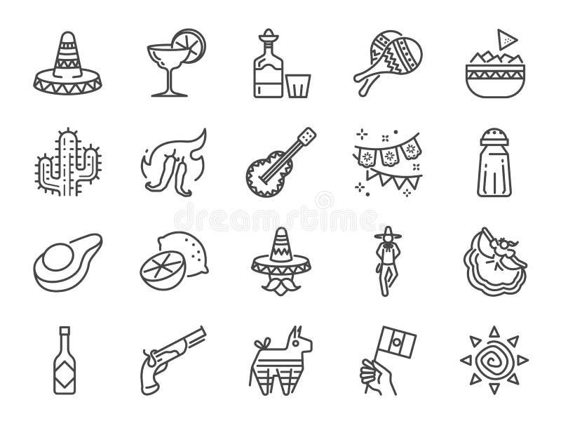 De Mexicaanse reeks van het lijnpictogram Omvatte de pictogrammen als maracas, piñata, traditionele hoed, nacho, kruidige saus,  vector illustratie