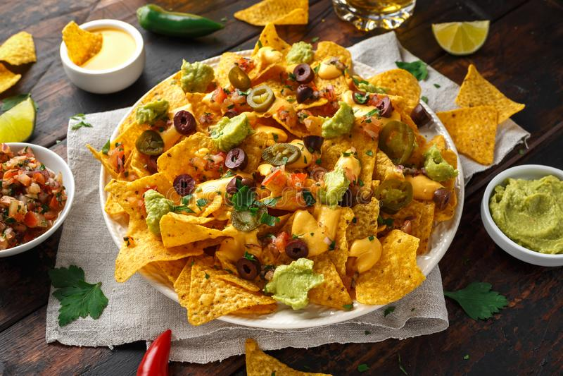 De Mexicaanse spaanders van de nachostortilla met olijven, jalapeno, guacamole, tomatensalsa en kaasonderdompeling royalty-vrije stock foto's