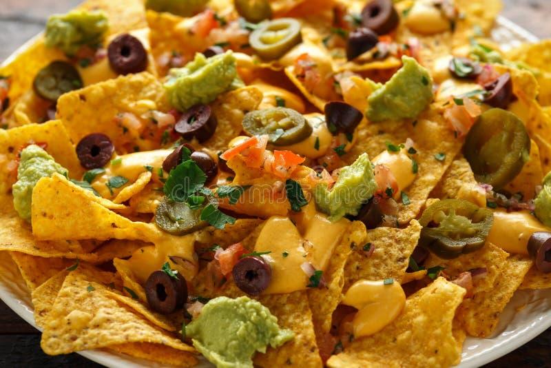 De Mexicaanse spaanders van de nachostortilla met olijven, jalapeno, guacamole, tomatensalsa en kaasonderdompeling stock foto