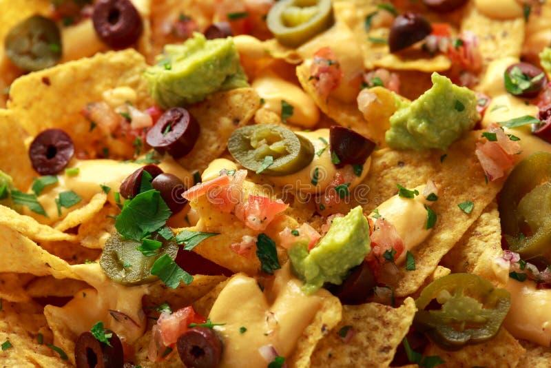 De Mexicaanse spaanders van de nachostortilla met olijven, jalapeno, guacamole, tomatensalsa en kaasonderdompeling Sluit omhoog stock afbeeldingen