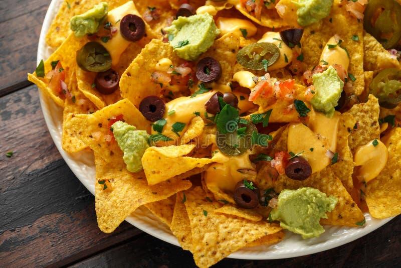 De Mexicaanse spaanders van de nachostortilla met olijven, jalapeno, guacamole, tomatensalsa en kaasonderdompeling Sluit omhoog royalty-vrije stock afbeelding