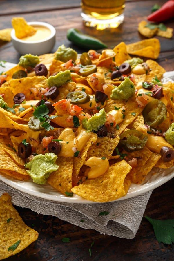 De Mexicaanse spaanders van de nachostortilla met olijven, jalapeno, guacamole, tomatensalsa, kaas dipand bier royalty-vrije stock afbeelding