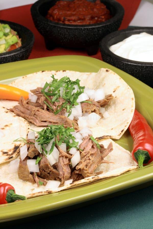 De Mexicaanse taco's van het fiestavlees royalty-vrije stock afbeeldingen