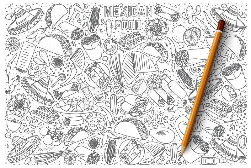 De Mexicaanse vectorreeks van de voedselkrabbel vector illustratie