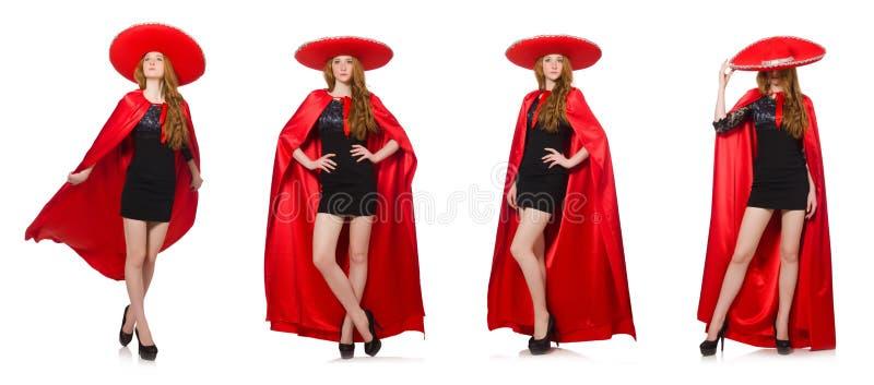 De Mexicaanse vrouw in rode kleding op wit royalty-vrije stock afbeeldingen