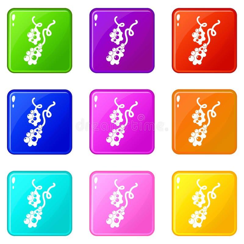 De micro- vibrio pictogrammen plaatsen 9 kleureninzameling vector illustratie