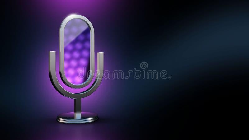 De microfoon is een spiegel Mobiele app Hulpstilist 3D illustratie het 3d teruggeven royalty-vrije illustratie