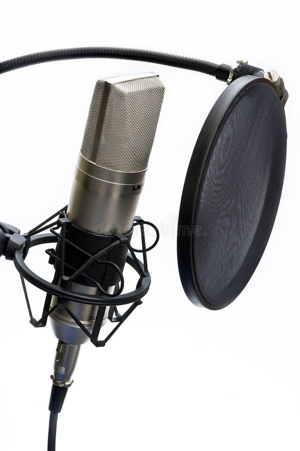 De microfoon van de studio en pop schild royalty-vrije stock afbeeldingen