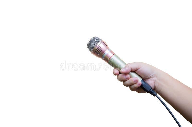 de microfoon van de handgreep op witte achtergrond gesprek en het spreken nieuwsconcept royalty-vrije stock afbeelding