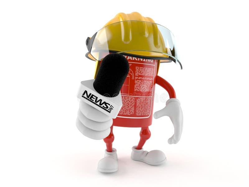 De microfoon van het de holdingsgesprek van het brandblusapparaatkarakter stock illustratie