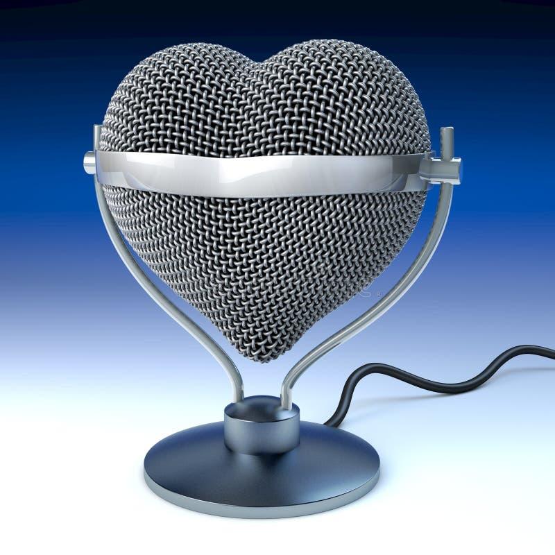 De microfoon van het studiobureau in hartvorm royalty-vrije illustratie