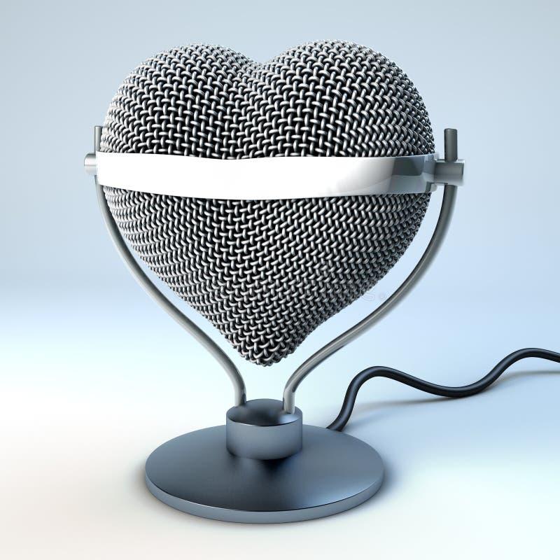 De microfoon van het studiobureau in hartvorm stock illustratie