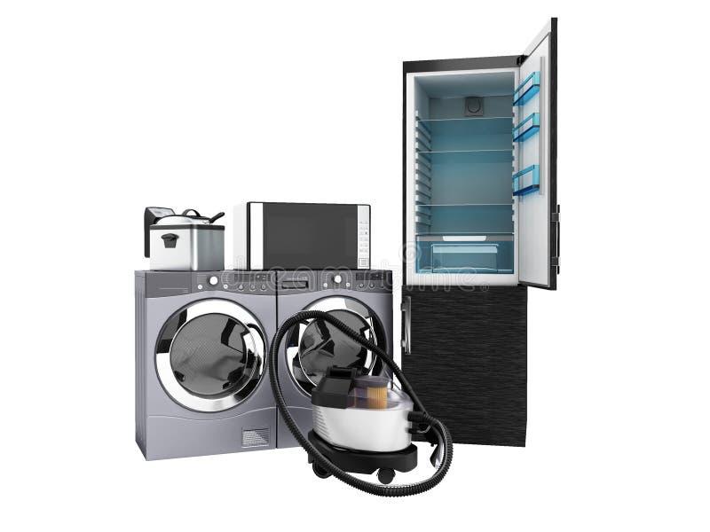 De microgolf die van de huishoudapparatenkoelkast stofzuiger wassen was royalty-vrije illustratie