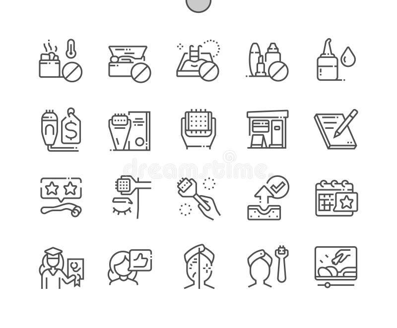 De Microneedling goed-Bewerkte Pictogrammen van de Pixel Perfecte Vector Dunne Lijn stock illustratie