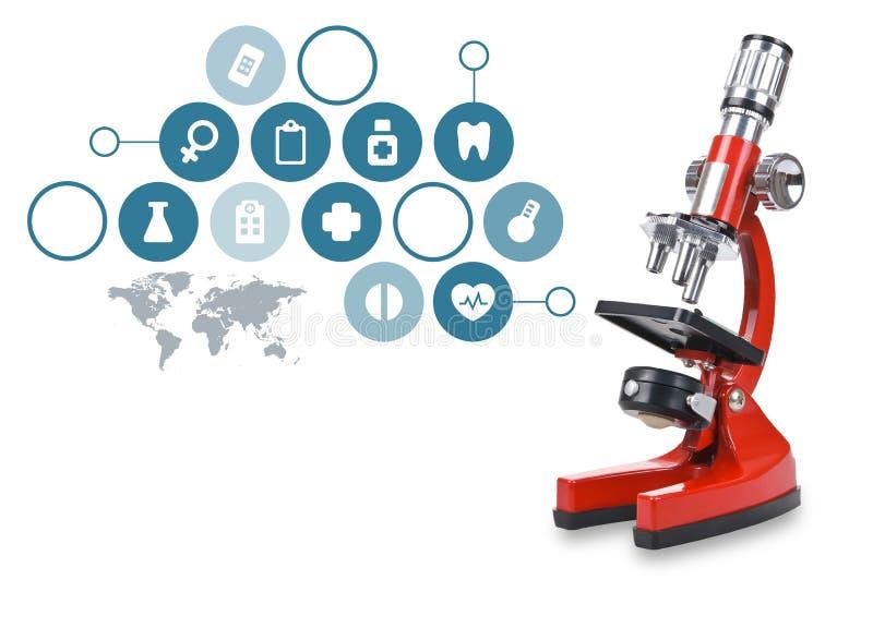 De microscoop van het laboratorium Wetenschappelijk en gezondheidszorg stock illustratie