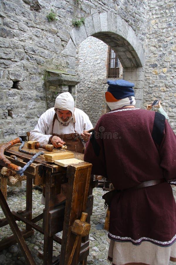 De Middeleeuwen in de middeleeuwse markt van Erba - district van Villincino-Zondag, 13 Mei, 2018 stock foto's