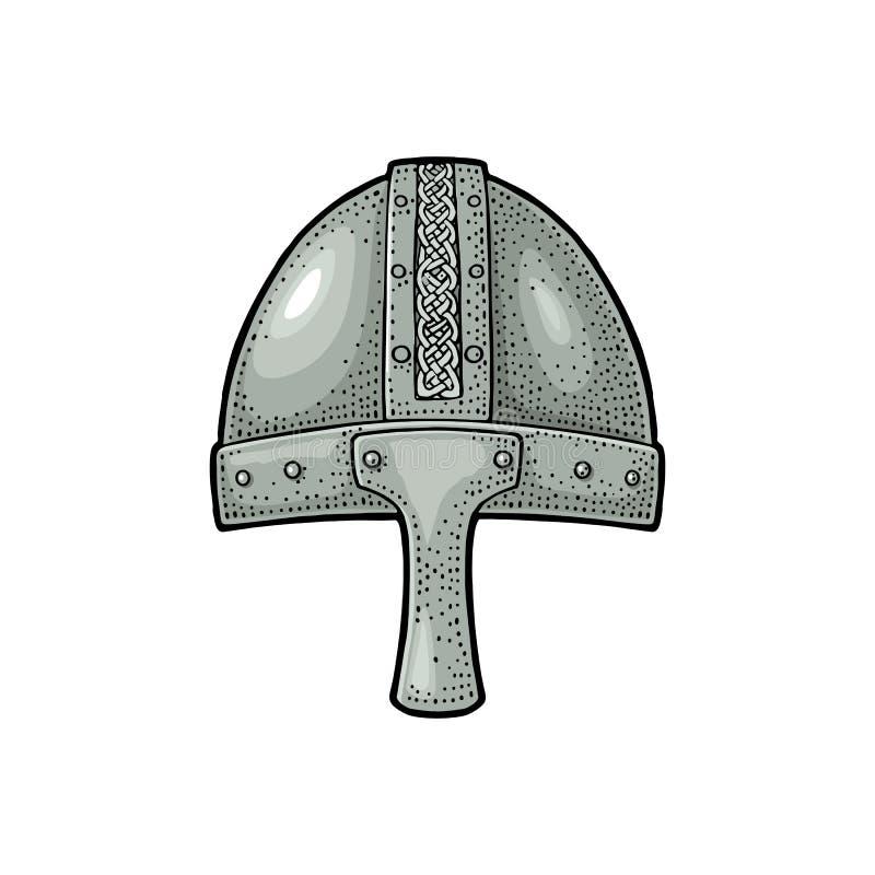 De middeleeuwse helm van Viking Illustratie van de gravure de uitstekende kleur stock illustratie