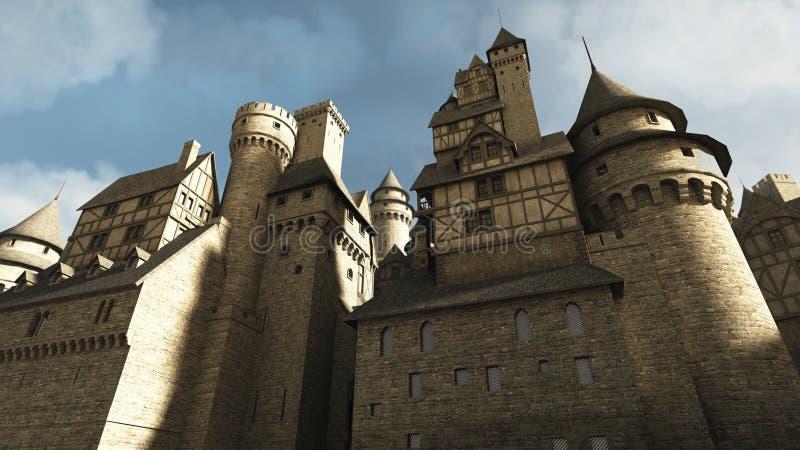 De middeleeuwse Muren van het Kasteel royalty-vrije illustratie