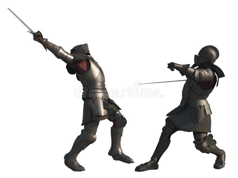 De middeleeuwse Ridders vechten - Geïsoleerd op Wit stock illustratie
