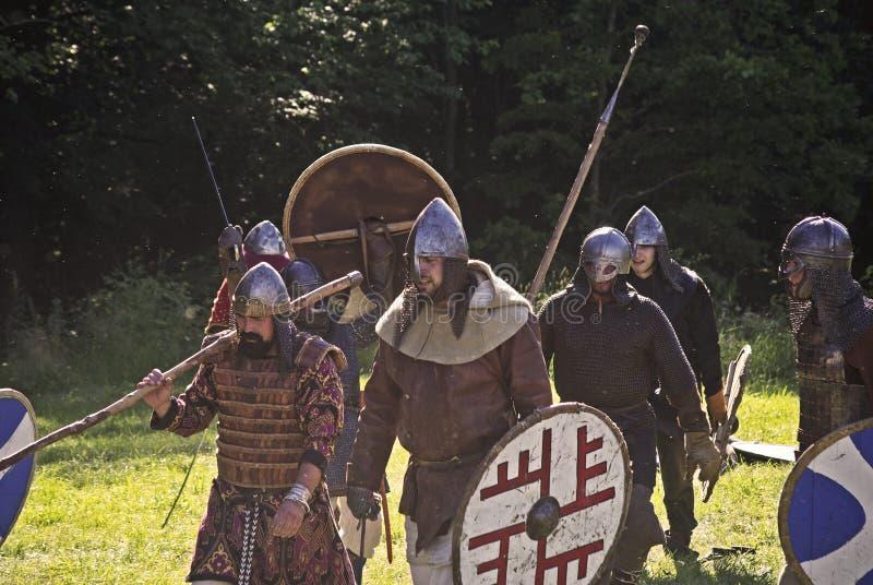 De middeleeuwse slag toont stock foto