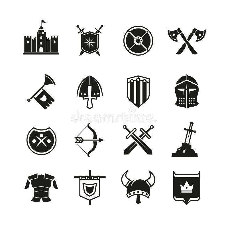 De middeleeuwse strijders beschermen en de zwaard vectorpictogrammen Oude riddersymbolen royalty-vrije illustratie