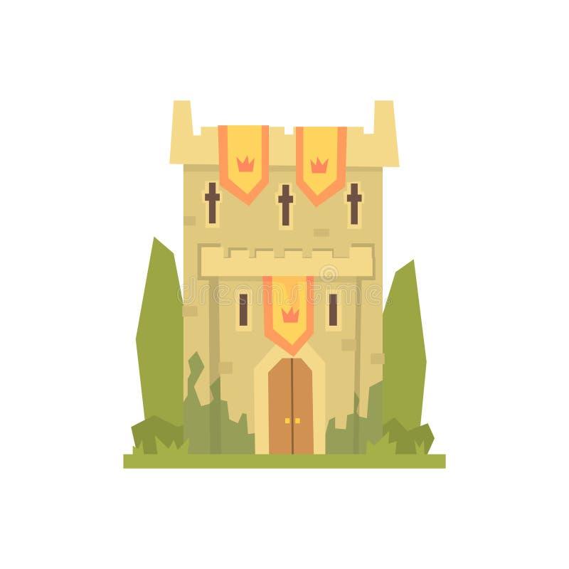 De middeleeuwse toren van de steenvesting, oude architectuur die vectorillustratie bouwen royalty-vrije illustratie