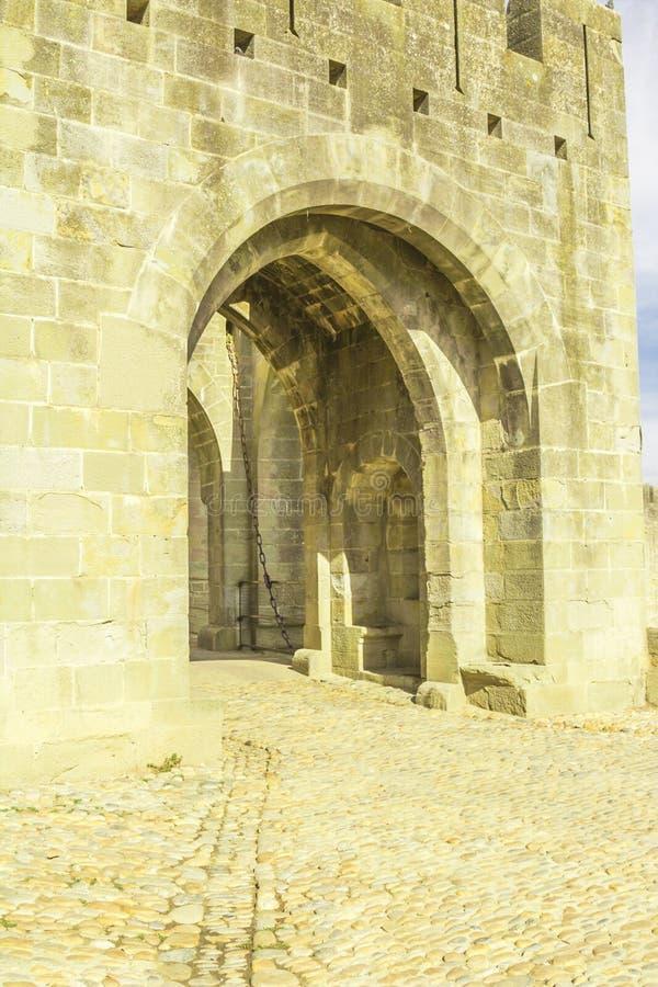 De middeleeuwse vesting van Carcassonne royalty-vrije stock foto