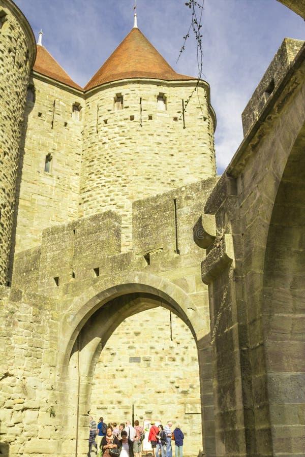 De middeleeuwse vesting van Carcassonne royalty-vrije stock afbeelding