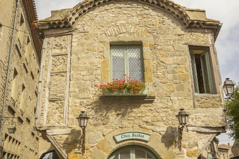 De middeleeuwse vesting van Carcassonne stock foto's