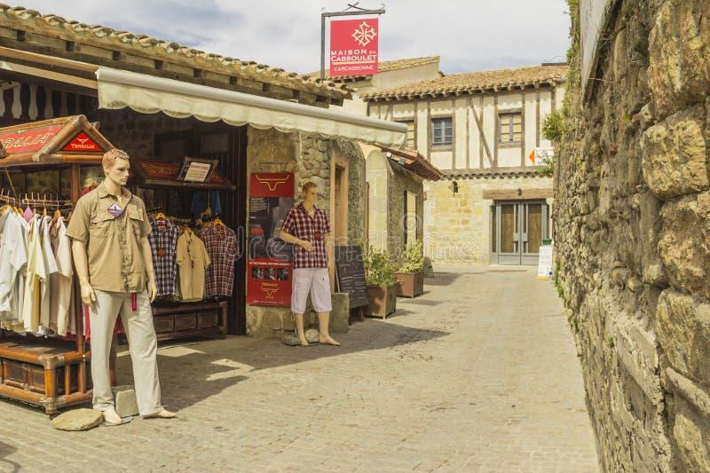 De middeleeuwse vesting van Carcassonne stock foto