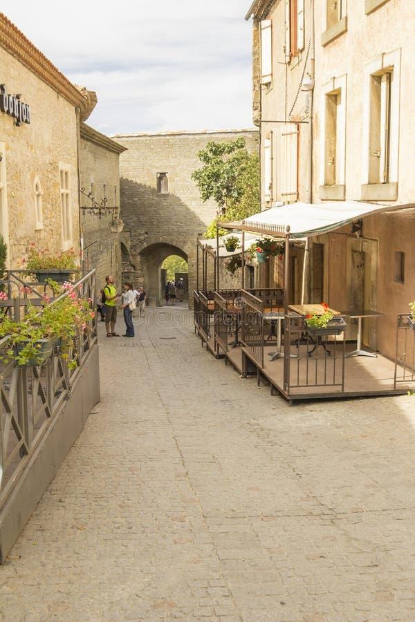 De middeleeuwse vesting van Carcassonne stock afbeeldingen