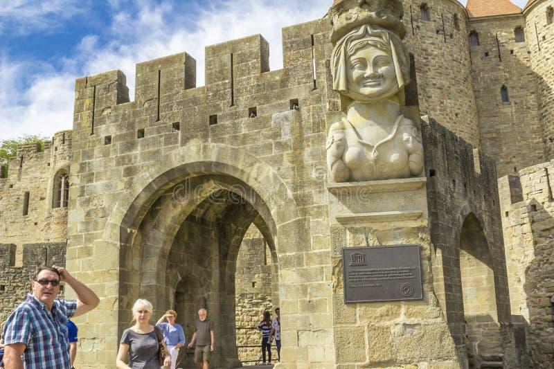 De middeleeuwse vesting van Carcassonne royalty-vrije stock fotografie