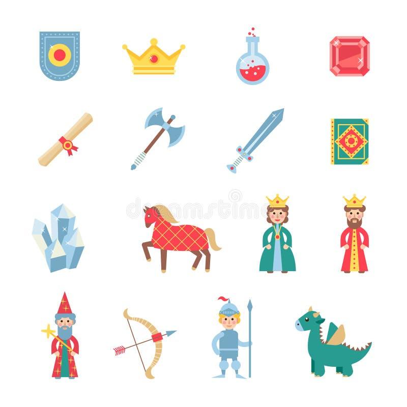De middeleeuwse vlakke geplaatste pictogrammen van spelensymbolen royalty-vrije illustratie