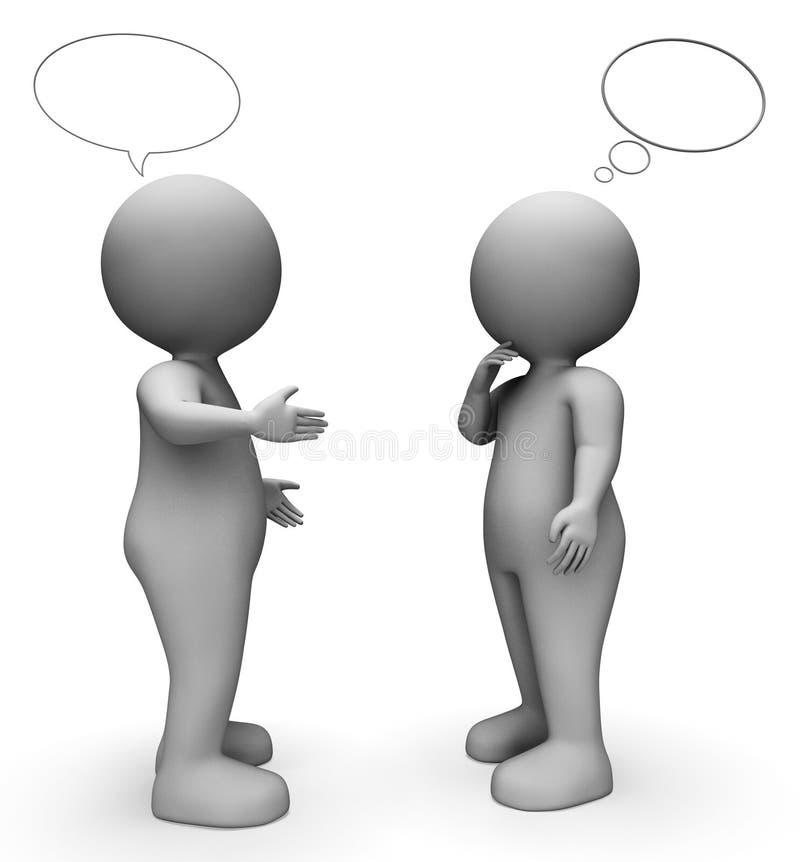 De Middelen van de toespraakbel corresponderen teruggeven en Mensen het 3d Teruggeven royalty-vrije illustratie