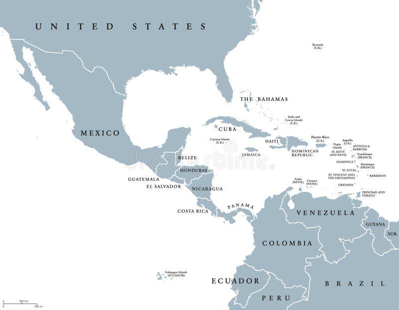 De midden politieke kaart van Amerika stock illustratie